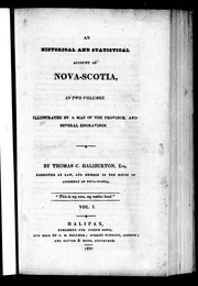 Cover of: An historical and statistical account of Nova-Scotia