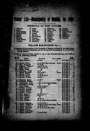 Cover of: Voters' list of the township of Raleigh for 1889