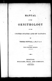 Cover of: A manual of the ornithology of the United States and of Canada