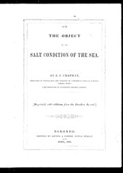 Cover of: On the object of the salt condition of the sea