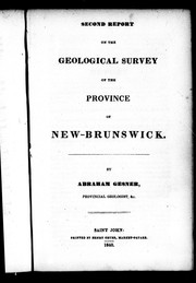 Cover of: Second report of the geological survey of the province of New-Brunswick