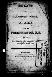 Cover of: By-laws of Solomon's Lodge, No. XXII