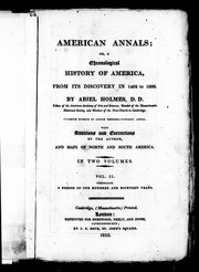 Cover of: American annals; or, A chronological history of America, from its discovery in 1492 to 1806