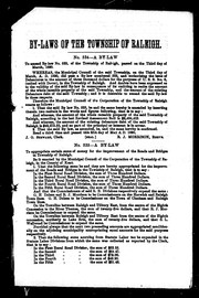 Cover of: By-laws of the Municipal Council of the township of Raleigh, from March, 1890, to March, 1891