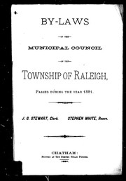 Cover of: By-laws of the Municipal Council of the township of Raleigh, passed during the year 1881