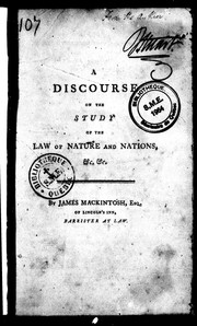 Cover of: A discourse on the study of the law of nature and nations, &c. &c