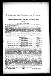 Cover of: By-laws of the township of Raleigh, passed between 7th April, 1887, and 15th March, 1888