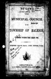 Cover of: By-laws of the Municipal Council of the township of Raleigh, passed during the year 1869