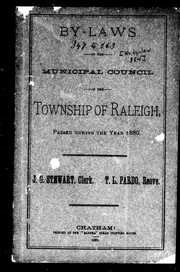 Cover of: By-laws of the Municipal Council of the township of Raleigh, passed during the year 1880