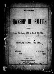 Cover of: By-laws of the township of Raleigh passed from 25th Feb'y, 1895, to March 9th, 1896