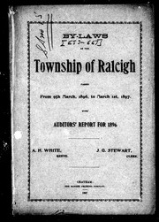 Cover of: By-laws of the township of Raleigh passed from 9th March, 1896, to March 1st, 1897