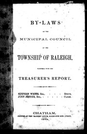 Cover of: By-laws of the Municipal Council of the township of Raleigh