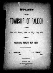 Cover of: By-laws of the township of Raleigh passed from 15th March, 1894, to Feb'y 25th, 1895