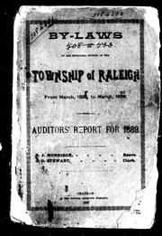 Cover of: By-laws of the Municipal Council of the township of Raleigh, from March, 1888, to March, 1889