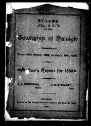 Cover of: By-laws of the township of Raleigh passed from 27th March, 1893, to Feb'y 19th, 1894