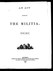 Cover of: An Act respecting the militia | Canada