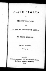 Cover of: Field sports in the United States, and the British provinces of America