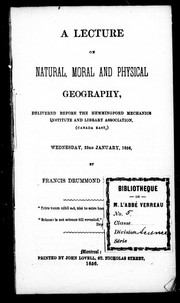 Cover of: A lecture on natural, moral and physical geography