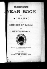 Cover of: Presbyterian year book and almanac for the Dominion of Canada and Newfoundland
