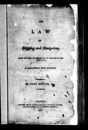 Cover of: The law of shipping and navigation