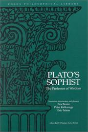Cover of: Plato : Sophist: The Professor of Wisdom (Focus Philosophical Library)