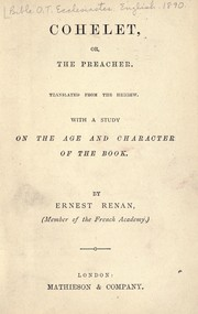 Cover of: Cohelet; or, the preacher
