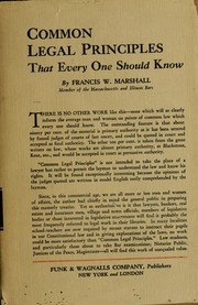 Cover of: Common legal principles that every one should know | Francis W. Marshall