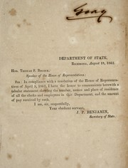 Cover of: [Communication from the Secretary of State] | Confederate States of America. Dept. of State