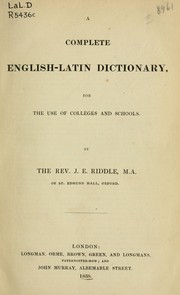 Cover of: A complete English-Latin dictionary