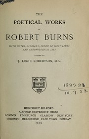 Cover of: Complete poetical works | Robert Burns