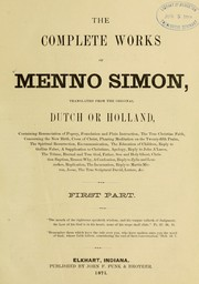 Cover of: The complete works of Menno Simon