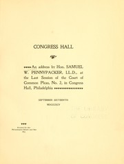 Cover of: Congress hall | Samuel W. Pennypacker