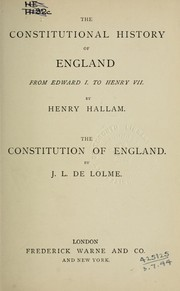 Cover of: The constitutional history of England, from Edward I to Henry VII