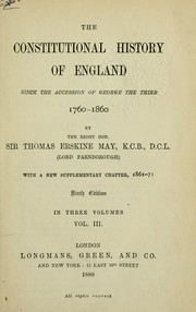 Cover of: The constitutional history of England since the accession of George the Third, 1760-1860, with a new supplementary chapter, 1861-71