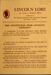 Cover of: The Constitution from Lincoln's viewpoint