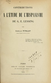 Cover of: Contributions à l'étude de l'hispanisme de G.E. Lessing