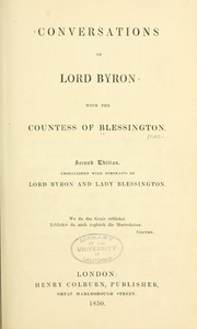 Cover of: Conversations of Lord Byron with the Countess of Blessington