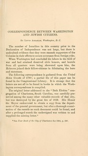 Cover of: Correspondence between Washington and Jewish citizens