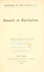 Cover of: Counsels on spiritualism | E. F. Burr