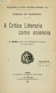 Cover of: A critica litteraria como sciencia