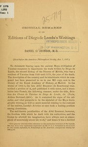 Cover of: Critical remarks on the editions of Diego de Landa's writings