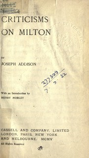 Cover of: Criticism on Milton
