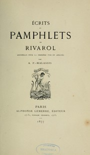Cover of: Écrits et pamphlets de Rivarol ...