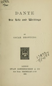 Cover of: Dante, his life and writings