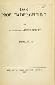 Cover of: Das Problem der Geltung