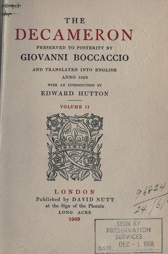 analysis of giovanni boccaccios decameron Giovanni boccaccio poems proem beginneth here the book called decameron, otherwise prince galeotto, wherein are contained one hundred novels told in ten days by.