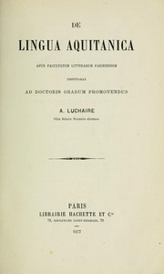 Cover of: De lingua Aquitanica