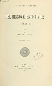 Cover of: Del Rinnovamento civile d'Italia