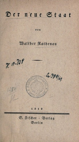 Der neue Staat by Walther Rathenau