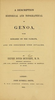 Cover of: A description, historical and topographical of Genoa | Henry Jones Bunnett